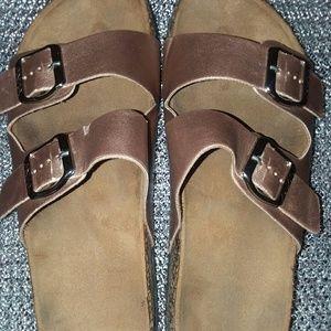 Gold strap sandals 8